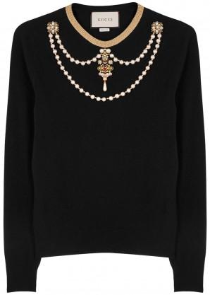 Gucci Black embellished wool jumper