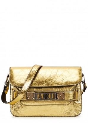 Proenza Schouler PS11 mini gold leather shoulder bag