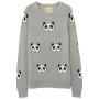 Grey panda intarsia jumper